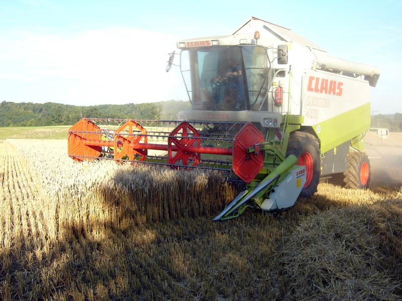 Getreidemähdrescher bei der Arbeit