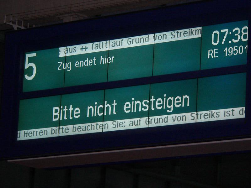 Streik am Stuttgarter Hauptbahnhof