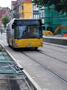 Busersatzverkehr in der Landhausstraße