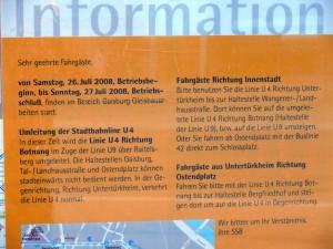 Info der SSB an den Haltestellen
