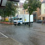 Regenschauer am Ostendplatz