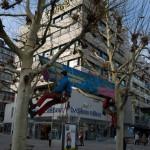 Lindenmuseum die Werbung wird aufgehängt
